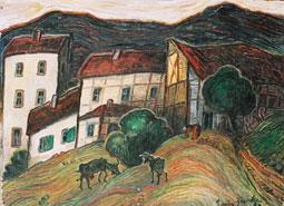 Ziegen vor dem Dorf